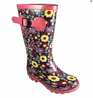 Girls Flowery Wellington Boots Slip on Fun Multi Coloured Wellies Size 11 12 13