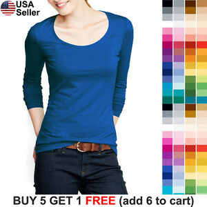 Basic-Scoop-Neck-T-Shirt-Solid-Plain-Top-Layer-Stretch-Fitted-Blank-Women-3081