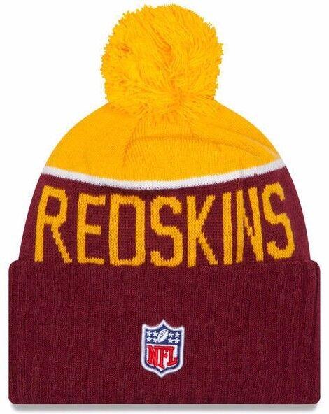 New Era Knit Washington Redskins Red On Field Game Sideline Sport Knit  Winter Stocking Beanie Pom c79d1daaa765