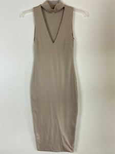 Kookai Womens Beige Deep V Neck Sleeveless Knee Length Stretch Dress Size S