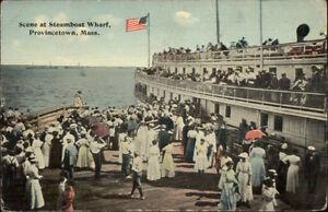 Provincetown-Cape-Cod-MA-Crowd-at-steamer-Wharf-c1910-Postcard
