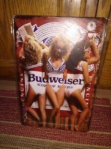 Vintage Budweiser Girls Beer Tin Metal Sign Anheuser Busch Old Logo 8 x 12 inch