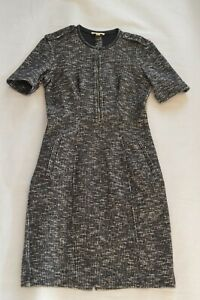 Burberry-Black-Military-Shoulder-Front-Zip-Leather-Trim-Dress-Women-UK8-US6-EU36