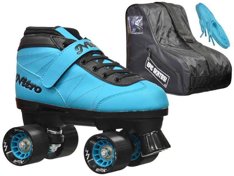 NEW Epic bluee  Nitro Indoor Outdoor Quad Roller Speed S  Bundle With Bag   new branded