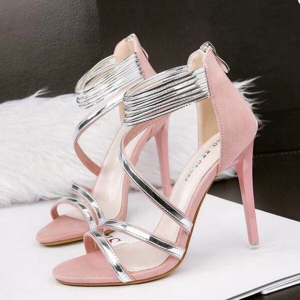FrauenSandaleeen Absatz 10.5 elegant Stilett rosa Silber simil Leder CW420
