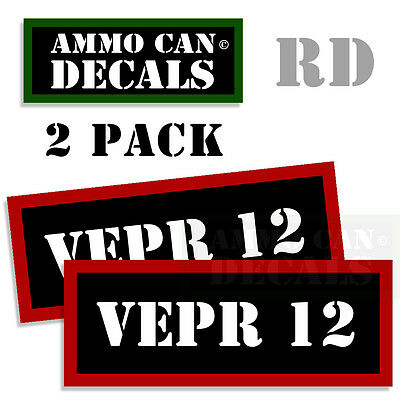 """8x50 LEBEL Ammo Can Stickers Ammunition Gun Case Labels Decals 2 pack RED 3/"""""""