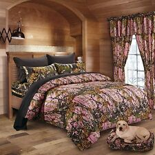 7 PC PINK WOODS CAMO COMFORTER AND BLACK SHEET SET QUEEN SIZE CAMOFLAUGE BEDDING