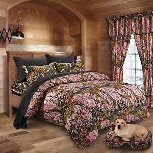 7 Pc Pink Woods Camo Comforter And Black Sheet Set Full