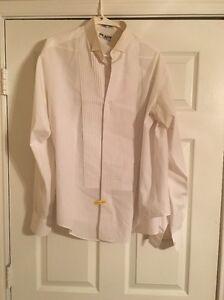 Mens-Neil-Allyn-White-Laydown-Collar-Pleated-Tuxedo-Shirt-L-34-35