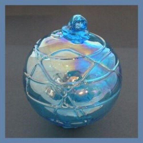 Hanging Glass Ball 4 Aqua Glass with Geometric Lines (1) GB90 Slight AB Finish