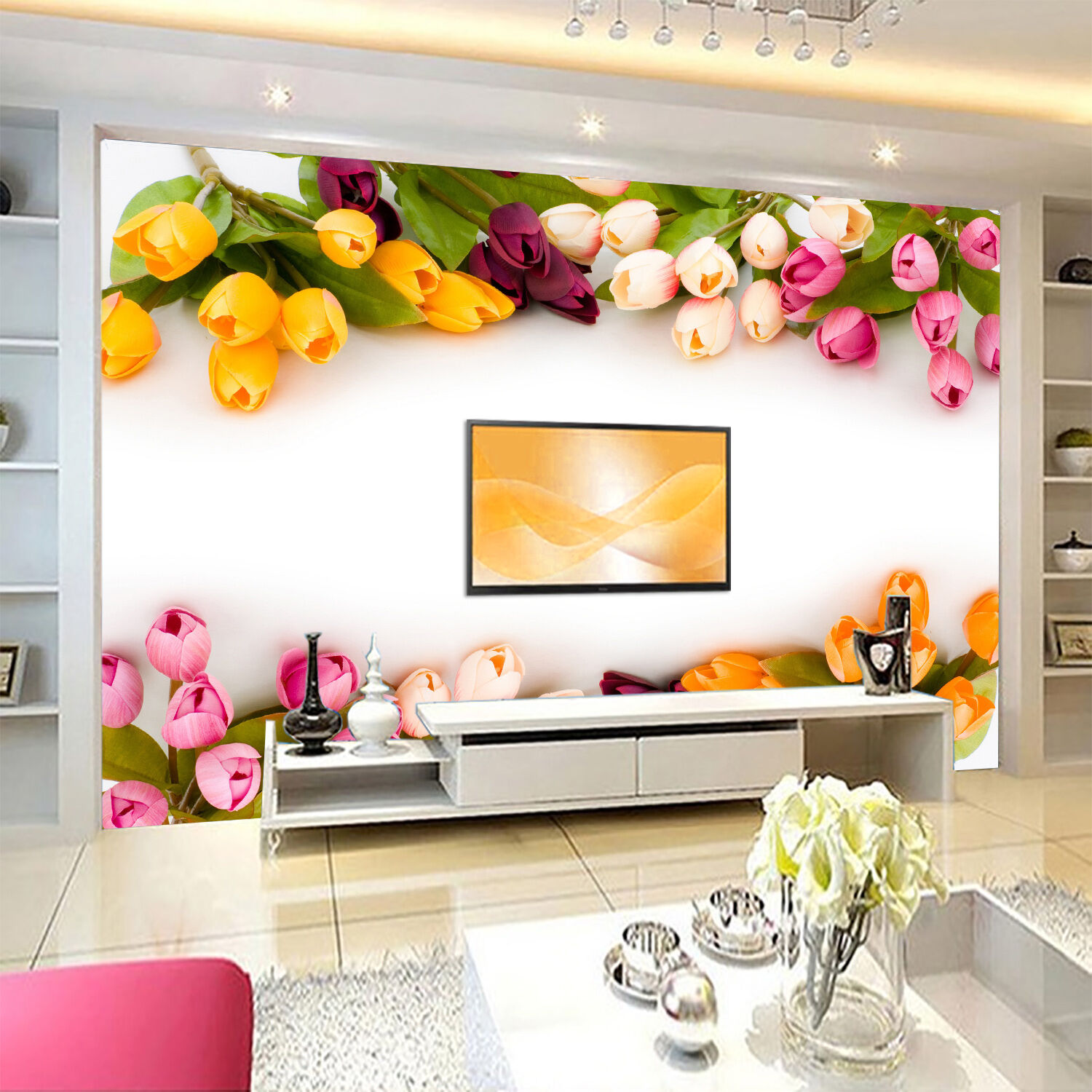 3D Farbeful Tulip Flowers 21 Paper Wall Print Wall Decal Wall Deco Indoor Murals