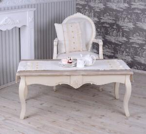 Détails sur Table de Salon Shabby Chic Basse en Bois Blanc Neuf