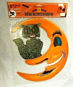 Vintage-Halloween-BLACK-CAT-amp-CRESCENT-MOON-Embossed-Die-Cut-Cutout-Radko