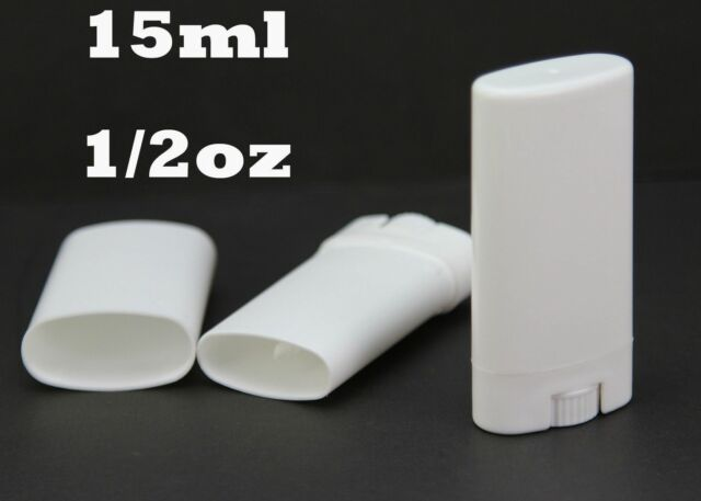 1/10/50 Empty Oval Lip Balm Tubes Deodorant Containers Clear White 15ml