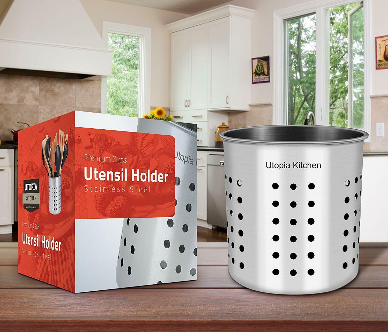 "Stainless Steel Utensil Holder Container 5 x 5.3"" Flatware Caddy Utopia Kitchen"