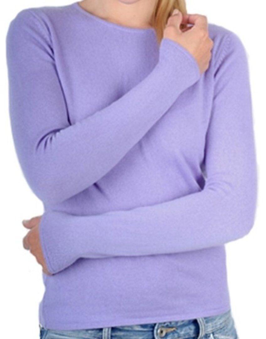 Balldiri 100% Cashmere Damen Pullover Rundhals 2-fädig lavendel XL