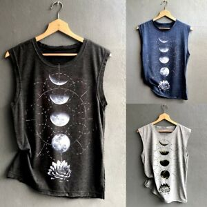d8e8197fb4e0 Details about Women s Moon Print Vest Casual Loose Top Sleeveless Sport  Pullover Tank Tops