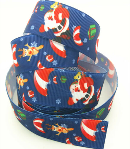 DIY 5 yards 25mm 1inch print  Santa Claus ribbon bow Christmas Craft Supplies#96