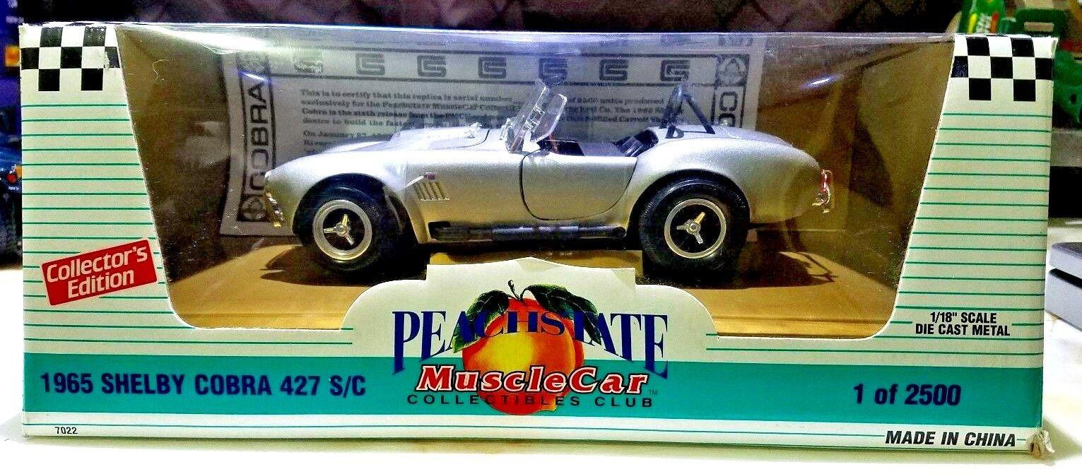 hasta un 65% de descuento Ertl Peachstate MuscleCoche Coleccionables Club 1965 Shelby Cobra Cobra Cobra 427 SC PLATA 1 18  hasta un 70% de descuento
