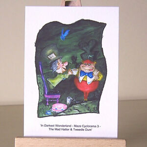In-Wonderland-maze-Tweedle-Dum-amp-Mad-Hatter-ACEO-art-cards-WDCC-drawings