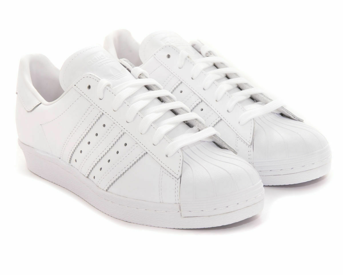 Adidas Para Hombre Zapatillas Adidas Superstar años 80 Cuero Shell Toe Entrenadores blancoo Puro