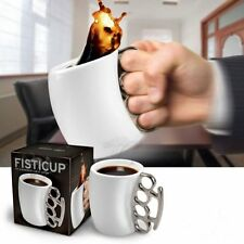 Knuckle Mug Fisticup Finger Handle Brass Ring Fist Milk Coffee Cup Mug Gift