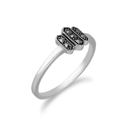 Gemondo Sterling Silver Marcasite Triple Octagon Design Ring