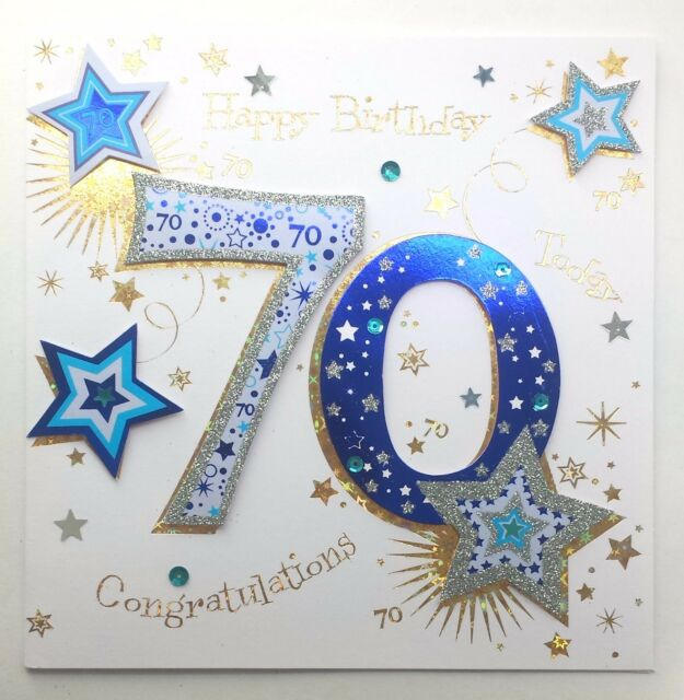 Happy Birthday 70 Today Very Lovely LARGE Hand Finished Blue White 70th Card