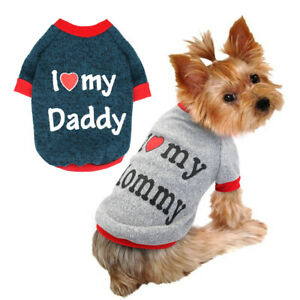 Details about I Love My Mommy Daddy Small Dog Sweater Pet Puppy Coat  Clothes for Chihuahua Pug