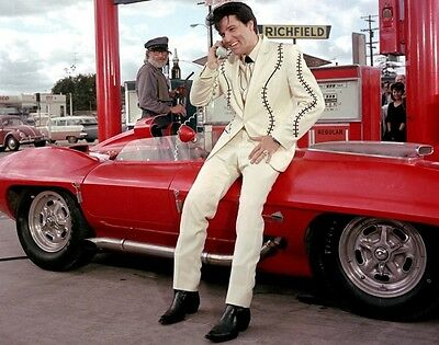 ELVIS PRESLEY WITH RED CORVETTE HOT ROD 8X10 GLOSSY PHOTO HUNKA BURNIN LOVE