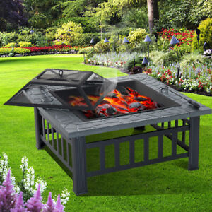 Fire Pit Metal Furniture Style Decking Heater Steel Firepit Brazier Bbq Table Uk Ebay