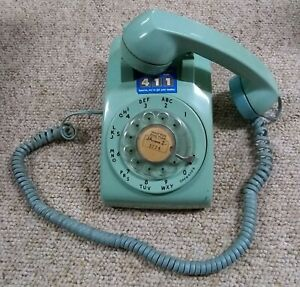 Teal-Aqua-Lt-Blue-Western-Electric-Bell-System-Rotary-Dial-Desk-Phone