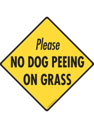 No Dog Peeing On Grass Aluminum No Dog Pooping Sign and Sticker