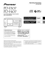 Pioneer Pd-f407 Cd Player Owners Manual