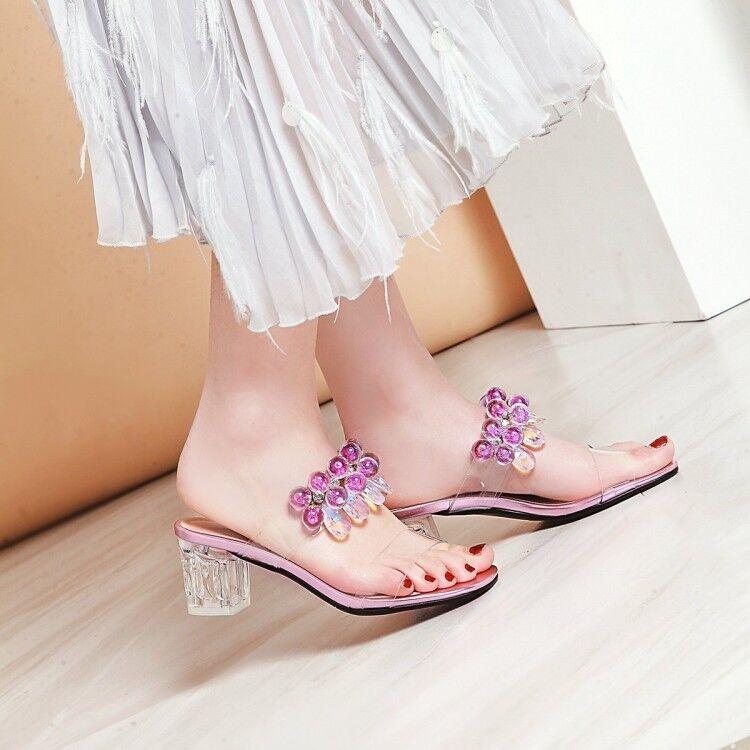 Women Peep Toe Beads Block Heels Slingback Slipper Transparent shoes Summer