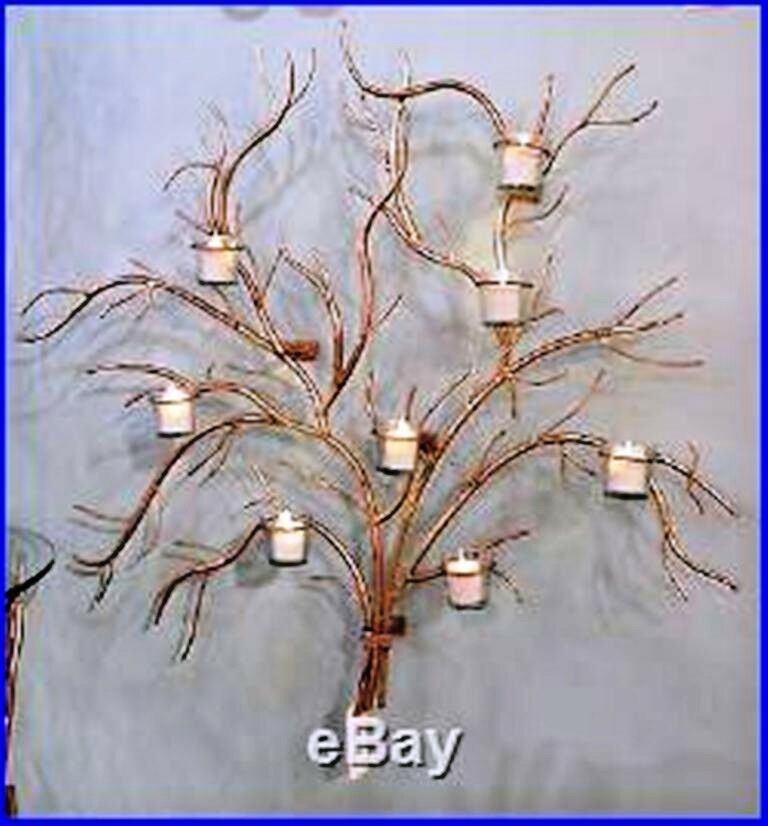 NEW STUNNING Gold Natural Twig IRON Antler 8 8 8 Votive Candle Holder WALL ACCENT 11808f