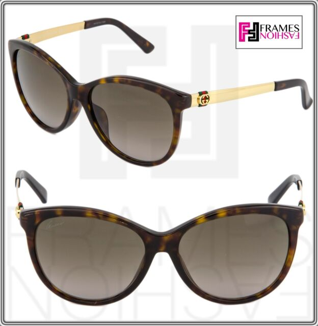 69dddce874f GUCCI 3797 Gold Havana Stripe Butterfly Asian Fit Metal Sunglasses GG3797FS