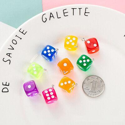Cartoon 10Pcs Miniature Transparent Dice DIY Earring Pendants Making Access////