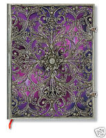 Paperblanks Lined Writing Journal Purple Silver Filigree Aubergine Ultra 7x9
