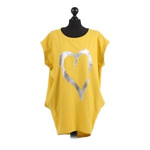 Womens-Foil-Heart-Print-Dipped-Hem-Top-One-Size-12-16-Made-in-Italy