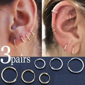 b86362c39f9692 Image is loading 3pairs-Fashion-Punk-Simple-Circle-Small-Hoop-Earrings-