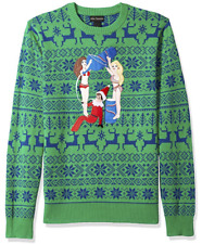 alex stevens mens drunk elf ugly christmas sweater in green size large