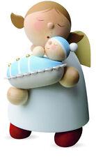 Großfigur Schutzengel Engel mit Baby Junge blau hellblau Reichel 16cm Erzgebirge