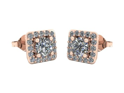 Genuine 0.80Ct Round Cut Diamond Square Halo Stud Earrings Solid 14k Gold