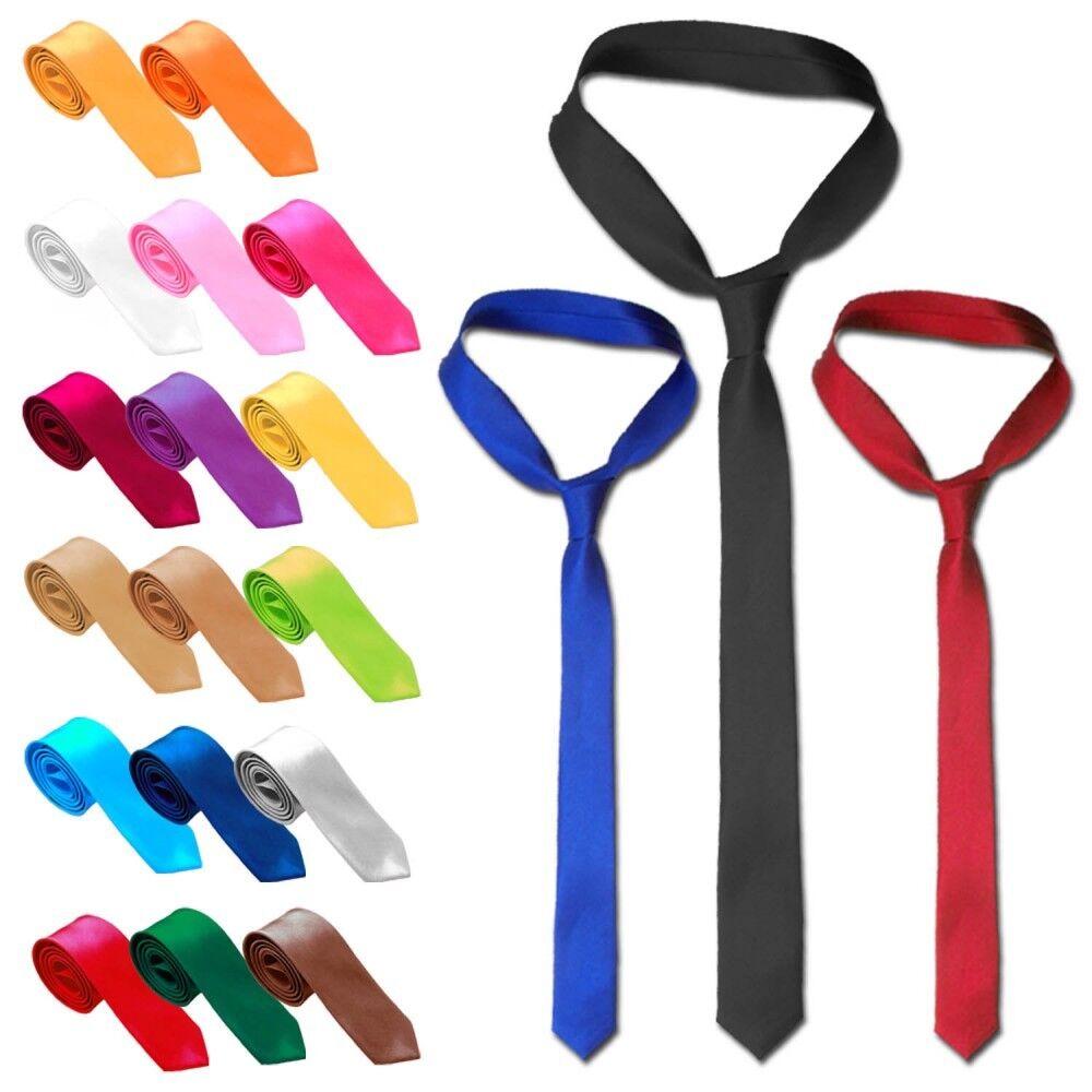1 Krawatte Schlips Binder Schmal für Anzug Hemd Herren Männer Schwarz Blau Rot