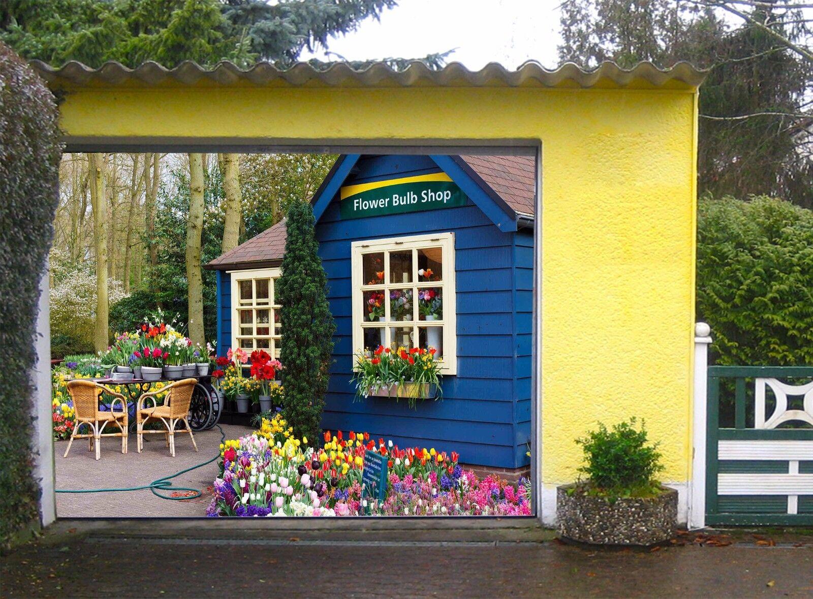 3D Flower Hut  78 Garage Door Murals Wall Print Decal Wall AJ WALLPAPER UK Carly