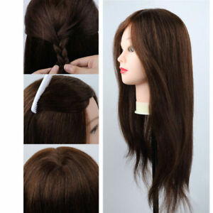 100-cabello-humano-Real-Salon-de-Peluqueria-Maniqui-Cabeza-De-Entrenamiento-Con-Soporte-Abrazadera