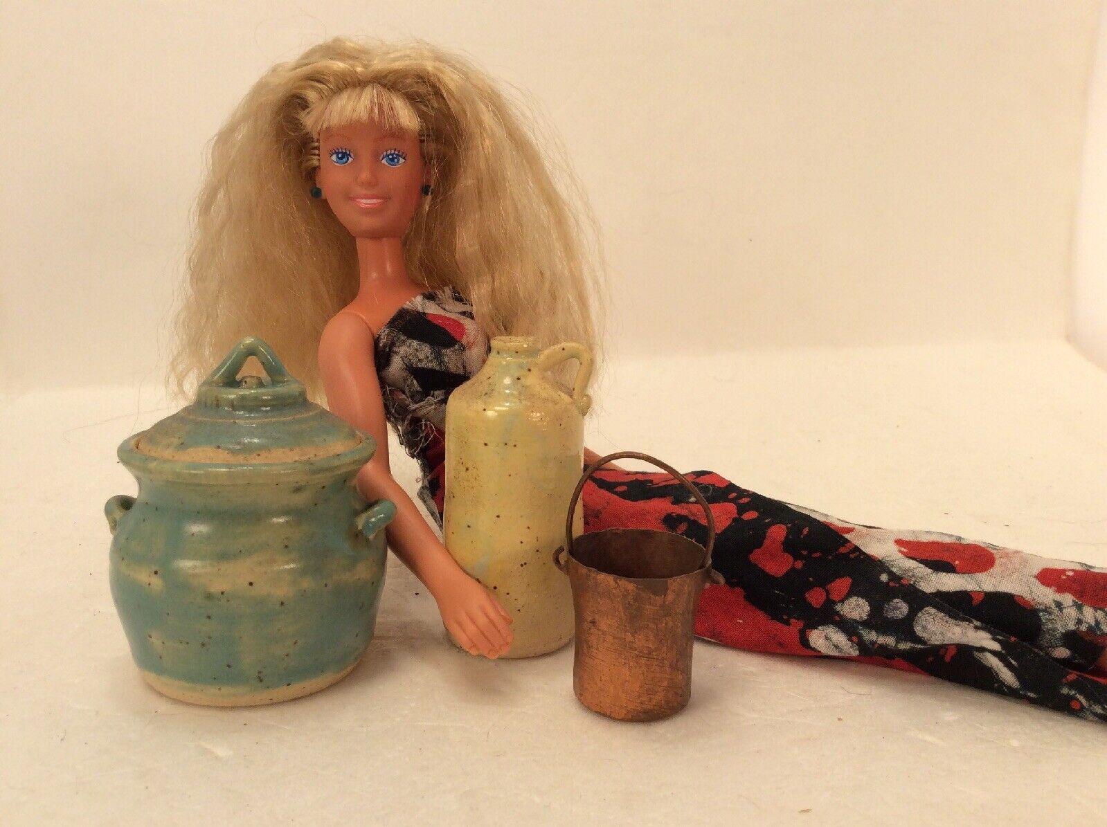 Barbie Ethnic Vase Miniature ceramic country style  sign Wilbur