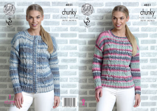 Cable de punto suéter Jumper Cardigan Ladies Tejer patrón King Cole Grueso 4851