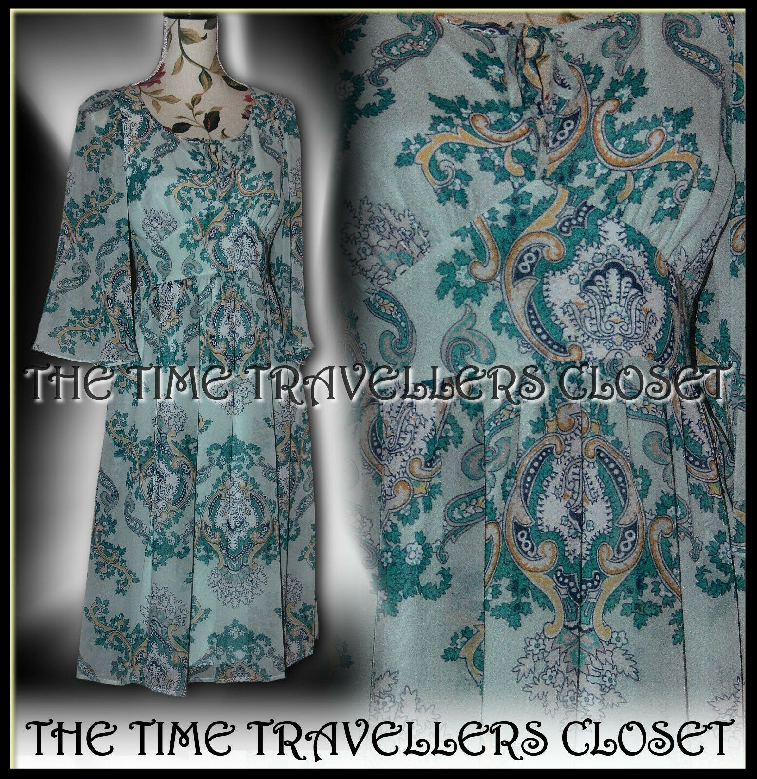 BNWT BIBA TEAL Blau PAISLEY BELL SLEEVE LOVE STORY 40s WW2 MIDI CALF DRESS UK 8